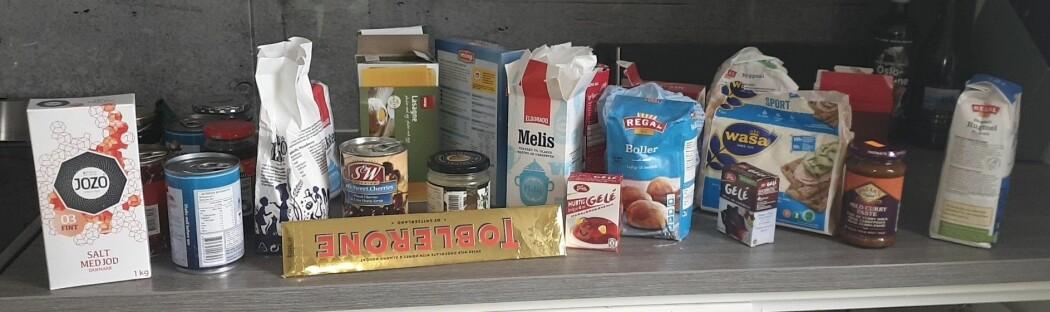 Dette var matvarene som ikke var pakket inn i plast.
