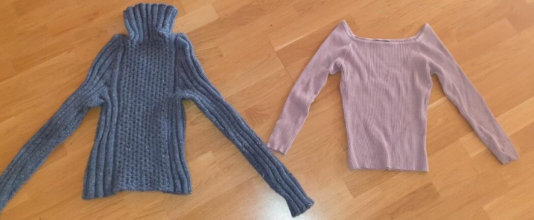 Den blå genseren er plast-fri, men den rosa inneholder plast.