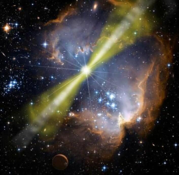Når en kjempestjerne dør kan det oppstå et gammaglimt – et kraftig utbrudd av gammastråling. Fra jorden er det mulig å observere om lag ett gammaglimt om dagen. (Foto: (Illustrasjon: NASA))