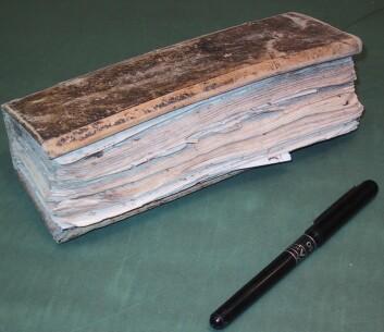 Dette er en av de mange værdagbøkene fra familien Todderud på Åker gård utenfor Hamar. Familien registrerte nedbør, temperatur, vind, sikt og skydekke helt fra 1749 til 1835. (Foto: Elin Lundstad)