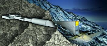 """""""Frølageret på Svalbard, 130 meter inn i permafrosten. Illustrasjon: Global Crop Diversity Trust."""""""