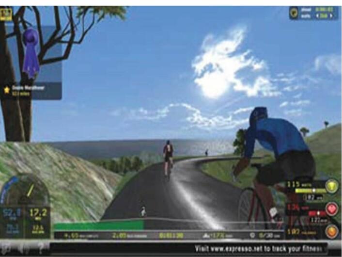De eldre fikk blant annet konkurrere mot en syklist som viste deres raskeste ritt så langt i forsøkene. (Foto: Interactive Fitness Holdings, LLC; American Journal of Preventive Medicine)