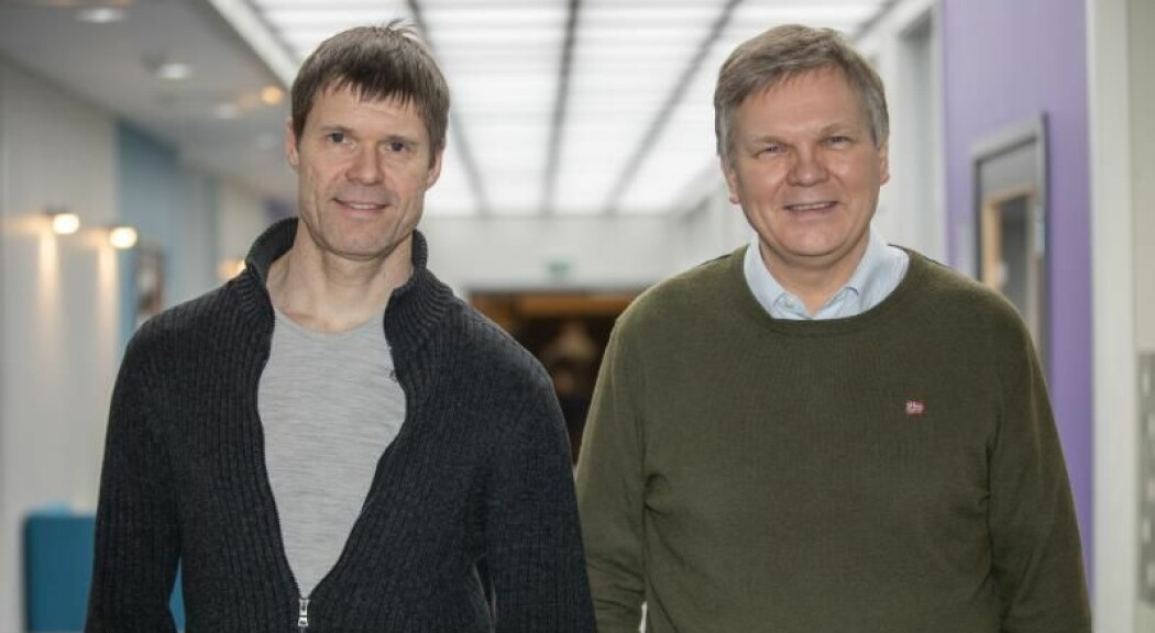 Eirik Årsand (til venstre) og Gunnar Hartvigsen er IT-professorer ved helseteknologistudiet ved UIT Norges arktiske universitet.