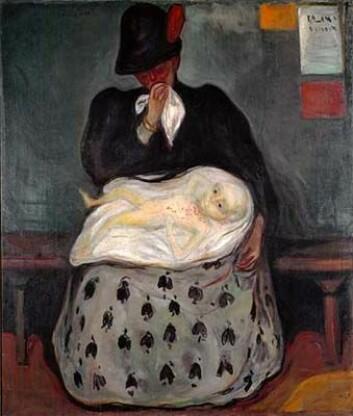 """""""Arv"""" malte Munchs under Paris-besøk på 1890-tallet. Bildet viser en kvinne og et barn med syfilis. Madonna og barn-symbolikken er tydelig, samtidig som tilskueren trolig tenker på kvinnen som prostituert. (Foto: Munchmuseet)"""