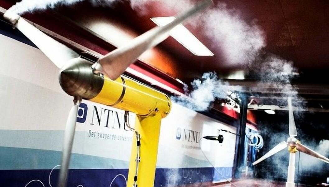 Vindturbiner testes i småskala i NTNUs vindtunnel. Geir Mogen/NTNU