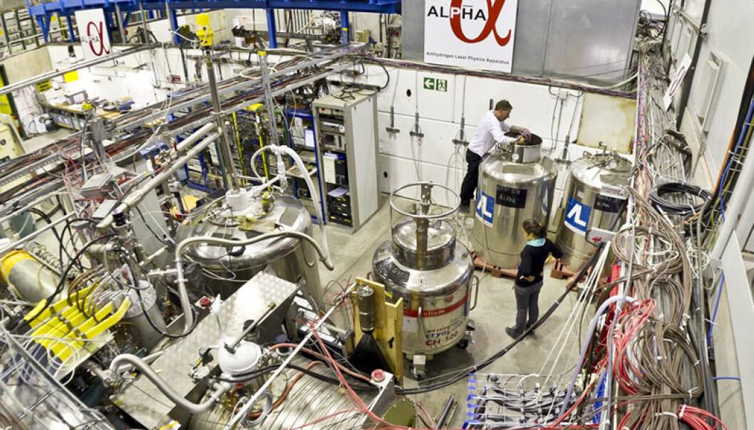 ALPHA-eksperimentet i CERN, hvor antihydrogen-atomene er framstilt og lagret. (Foto: Niels Madsen, CERN)