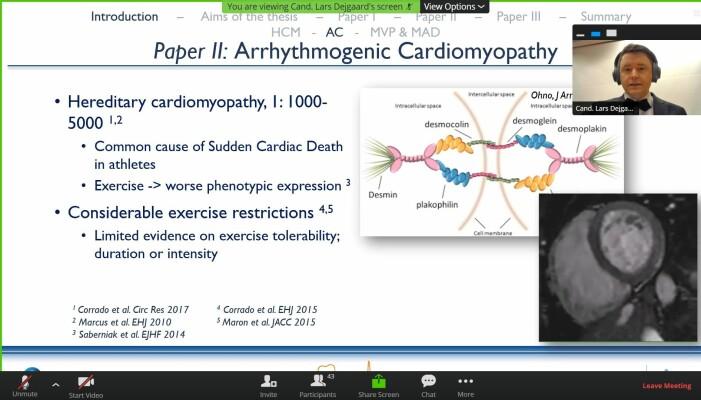Zoom gjorde det mulig å holde en presentasjon digitalt. Øverst i høyre hjørnet forklarer Dejgaard lysbildet.