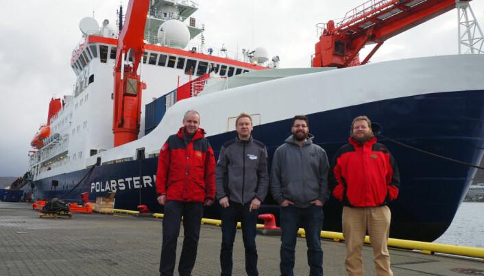 Her er noen av deltakerne fra Norsk Polarinstitutt i MOSAiC-prosjektet før avreise høsten 2019, fra venstre: Sebastian Gerland Dmitry Divine, Benjamin Lange og Mats Granskog.