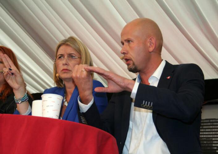 Kristin Vinje (H) vil ha gjennomgang av dagens finansiering før nye universiteter opprettes. FrPs Tord Lien vil ikke trykke på pauseknappen. (Foto: Asle Rønning)