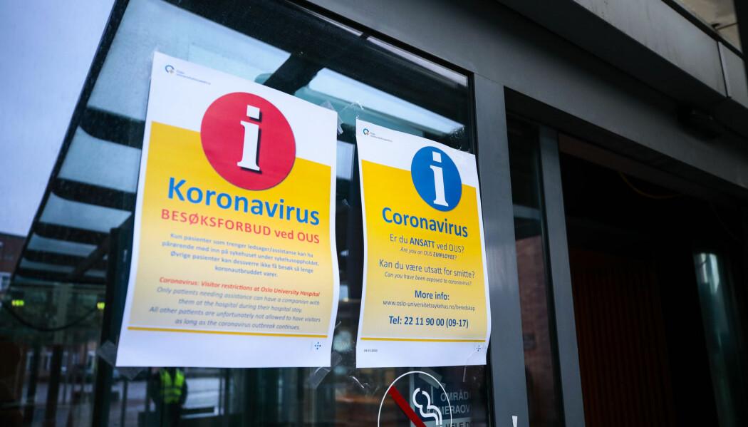 Oslo universitetssykehus, Rikshospitalet. Koronaviruset hindrer folk å besøke pasienter, og det er innført besøksforbud ved landets sykehus.