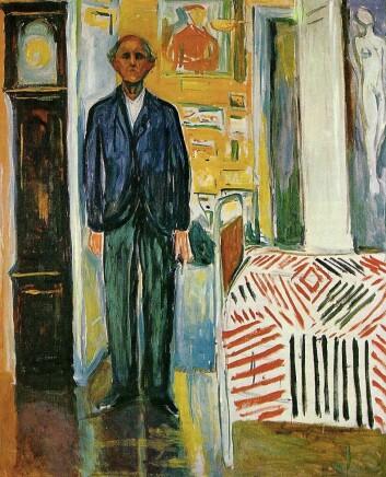 """""""Selvportrett mellom klokken og sengen"""", 1940-1943. Med en gammel manns holdning har Munch stilt seg opp mellom to dødssymboler. Dette er et av de siste bildene Munch malte. (Foto: Munchmuseet)"""