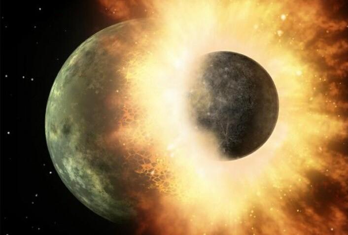 Denne illustrasjonen av en planetkollisjon som ble oppdaget av romteleskopet Spitzer fra NASA viser hvordan Theia kan ha slått løs en bit av jorda og dannet månen. Et team på Washington University i St.Louis har avdekket bevis for denne kollisjonen som forskere har prøvd å finne i mer enn 30 år. (Foto: (Illustrasjon: NASA/JPL-Caltech))