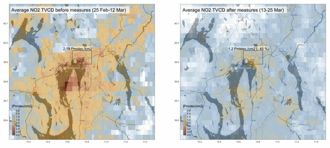 Bildene viser NO2-målinger gjort med satellitt over Oslo og Viken. Venstre bilde viser det gjennomsnittlige forurensningsnivået i ukene før koronatiltakene ble innført 13. mars. Høyre bilde viser gjennomsnittlig nivå etter at tiltakene var satt i verk.