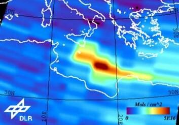 """""""Satellittmåling av SO2-utslipp fra vulkanen Etna. Interferometriske målinger fra ESAs radarsatellitt Sentinel-1 vil fra 2011 bidra til detaljert overvåkning av verdens vulkaner. (Bilde: ESA/DLR)"""""""