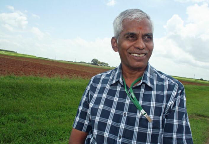 Kupanam Palinasami ved International Water Managment Institute i Hyderabad, India, er ekspert på effektiv utnyttelse av vann i jordbruk. (Foto: Asle Rønning)