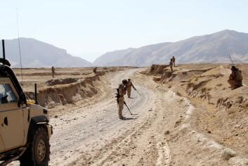 Norske soldater støtter afghanske ingeniører med å klarere landeveien i Almar. Taliban har minelagt veiene. (Foto: Kaptein Kim Gulbrandsen/Forsvaret)