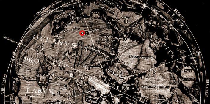 Utsnitt av området nær månens nordpol tegnet av den italienske astronomen Giovanni Battista Riccioli i 1651. Han ga navn til Mare Imbrium, lavasletta der den kinesiske månesonden Chang'e 3 landet 14. desember 2013. Omtrentlig landingssted er tegnet inn med rød sirkel. (Foto: (Bilde: Wikimedia Commons))