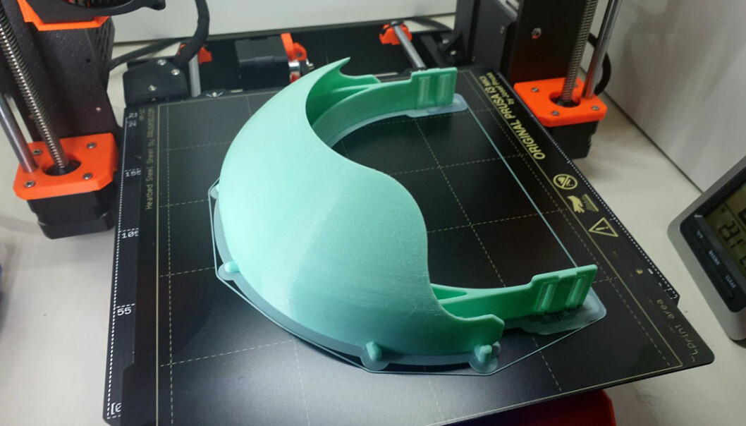 This is what the 3D printed shield looks like.