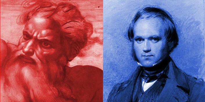 Til venstre: Gud. Til høyre: Charles Darwin.) (Foto: (Illustrasjon: Michelangelo (utsnitt), George Richmond))