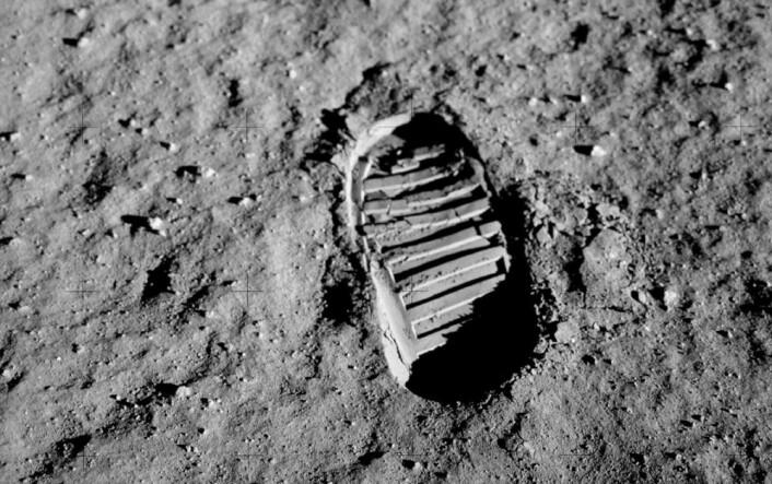 Edwin Aldrin satte dette fotavtrykket i månestøvet i juli 1969. (Foto: Edwin Aldrin, NASA)