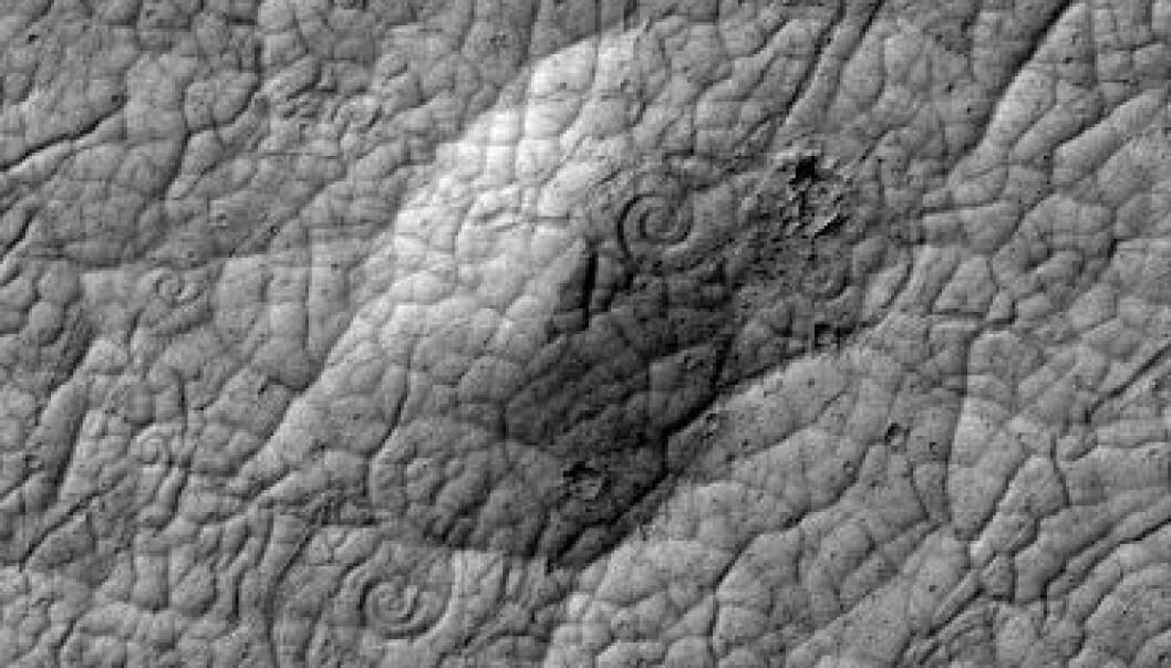 Spiralformer av lava er sjeldne på Jorda og har aldri før blitt sett på Mars. Før nå. NASA/JPL-Caltech/UA
