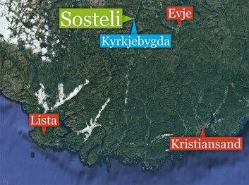 Jernaldergården Sosteli ligger i Åseral kommune i Vest-Agder. Kommunesenteret Kyrkjebygda er nærmeste sted. Lignende ødegårder som Sosteli er funnet på Lista og på Jæren. (Foto: (Kart: Google Maps/tilpasset forskning.no/Per Byhring))