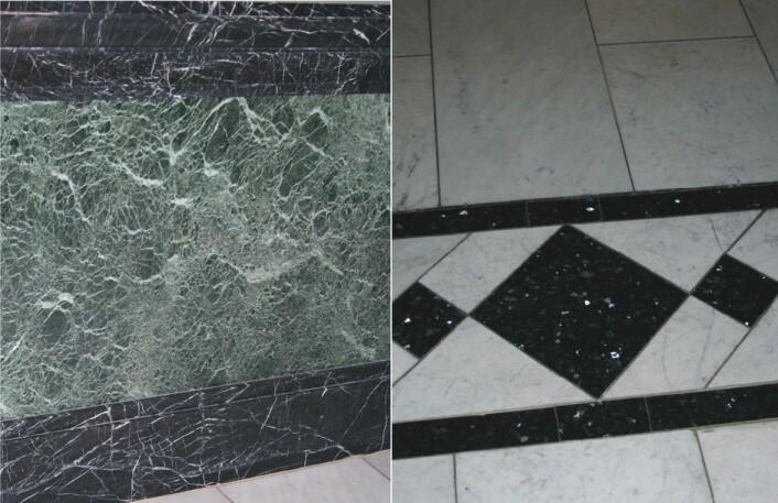 Detaljer fra interiøret. Hvit Carraramarmor, grønn serpentinitt, svart kalkstein og blå larvikitt. (Foto: NGU)