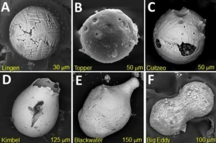 Eksempler på kuler som antageligvis ble skapt da en komet eller asteroide traff jorda. (Foto: YDB Research Group)