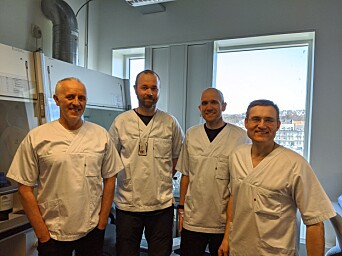 Part of the development team. From left, Magnar Bjørås, Sten Even Erlandsen, senior engineer from the Genomic Core Facility (GFC), Lars Hagen, general manager of the Proteomics and Modomics Experimental Core Facility (PROMEC), and Per Arne Aas, senior engineer from the Department of Clinical and Molecular Medicine.