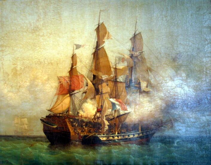 """Etter krigserklæringen mellom Frankrike og Storbritannia i 1793 skjøt kapervirksomhetene i Europa fart. I 1807 ble også Danmark-Norge en aktiv kaperstat. På dette maleriet ser vi den franske kaperskuta """"Confiance"""" i kamp mot den britiske ostindiafareren """"Kent"""". (Foto: (Maleri av Ambroise-Louis Garneray))"""