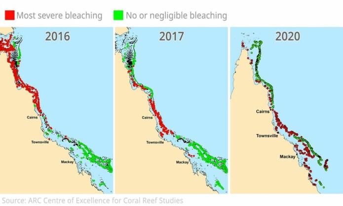 Illustrasjonen viser hvilke områder av Great Barrier Reef som var hardest rammet i 2016, 2017 og 2020.