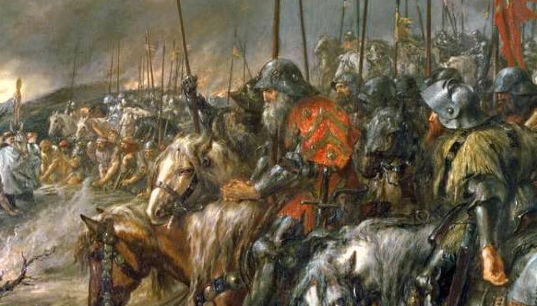 Morgenstemning før slaget ved Agincourt, malt av Sir John Gilbert (1817–1897). (Wikimedia Commons)