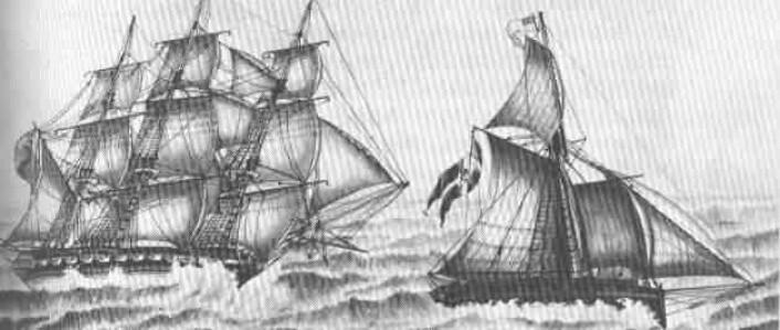 Kaperen «Den Norske Gut» i kamp med den britiske fregatten «Tartar» 31. oktober 1808. Kaperen hadde 10 kanoner og 50 manns besetning. Masten på det norske fartøyet brakk og samtlige av nordmennene ble ført til Skottland. (Foto: (Ukjent kunstner))