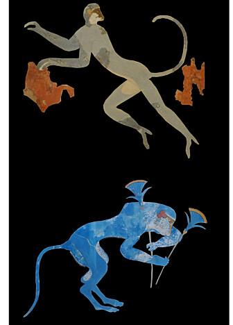 Apene fra de minoiske freskene. Bavianen er nederst på bildet.