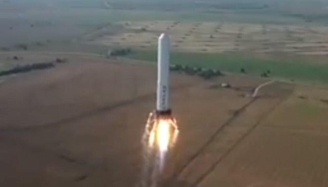 Raketten som tar av - og lander stående på bakken