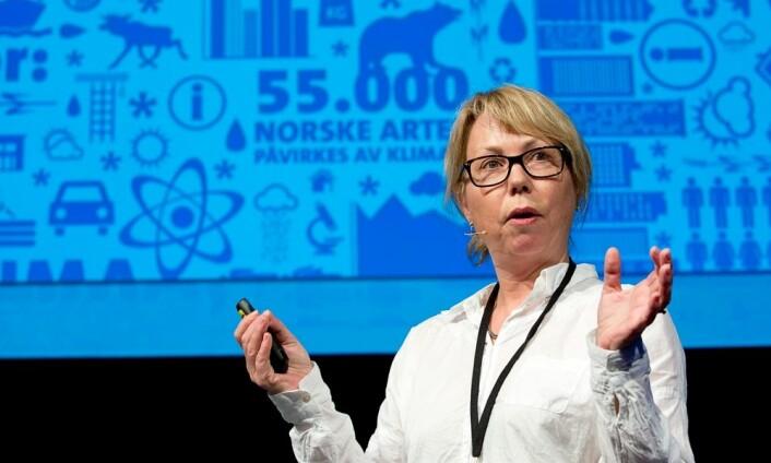 """Gørill Kristiansen har ledet mye av arbeidet med Forskningsrådets store klimaforskningsprogram. Hun fortalte historier fra hva som foregår på """"innsiden"""" av et forskningsprogram i Forskningsrådet. (Foto: Thomas Keilman)"""