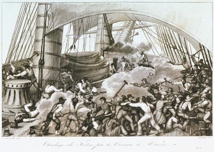 Et fransk skip bordes av britiske kapere. Mannskapet og kaperne slåss med alt de kan finne av mulige våpen. (Foto: (Ambroise-Louis Garneray))