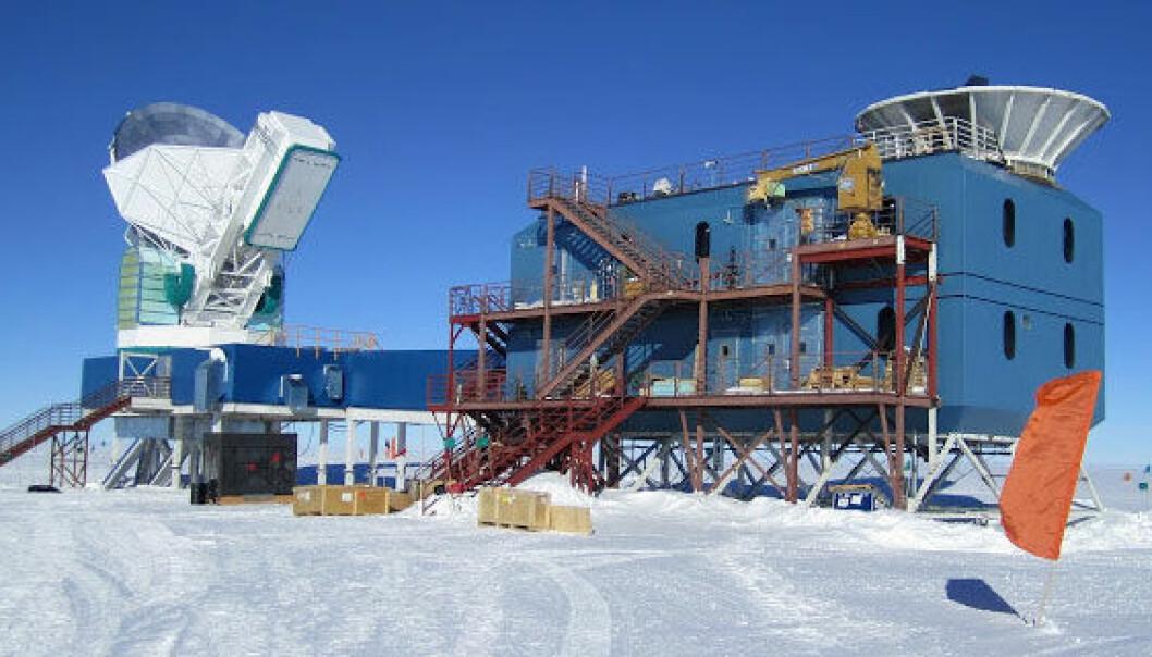 Oppdagelsen er gjort av det gedigne BICEP 2-teleskopet på Sørpolen. Harvard University