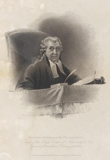 William Scott (Lord Stowell) kan ha vært den første til å slå fast at dommerne burde dømme likt, uavhengig av hvilket land de satt i. Slik banet han vei for dagens folkerett. (Foto: (Gravering av William Holl den eldre, etter et maleri av William Behnes.))