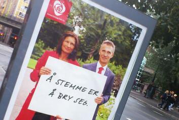 En av Arbeiderpartiets valgplakater like før kommunevalget 2011, her ved Vaterlandsbrua på Grønland i Oslo. Libe Rieber-Mohn, førstekandidat for Arbeiderpartiet i Oslo, og statsminister Jens Stoltenberg. (Foto: Andreas R. Graven)