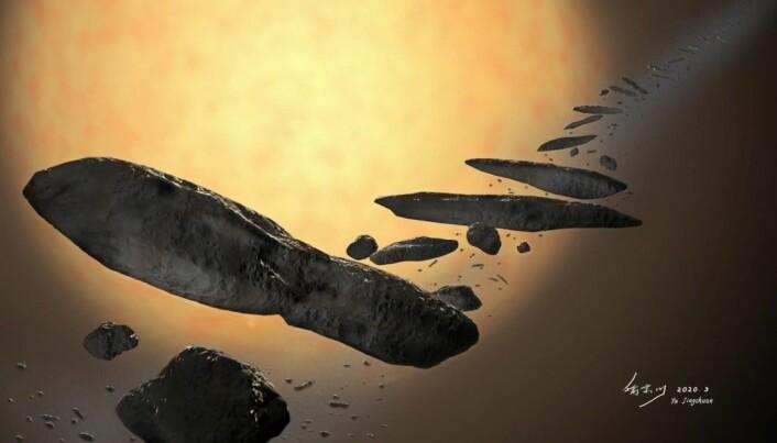 Slik ser en kunstner for seg at 'Oumuamua så ut da det ble kastet ut av sitt eget stjernesystem.
