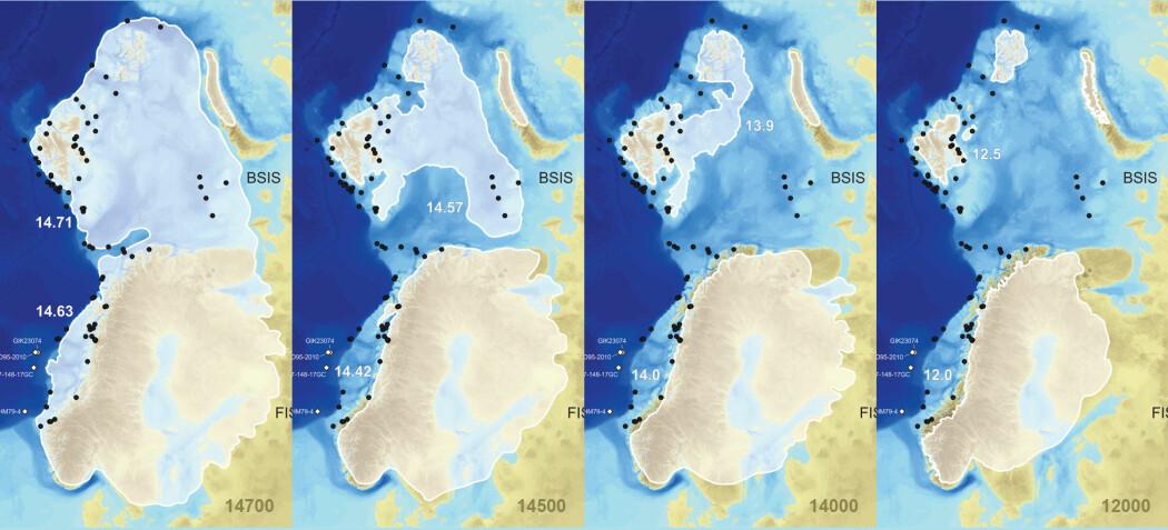 Mellom for 15 000 og 14 000 år siden forsvant nesten hele isdekket over Barentshavet. Kartene viser innlandsisen over Skandinavia og Barentshavet for 14 700, 14 500, 14 000 og 12 000 år siden. De svarte punktene viser hvor gamle data er blitt tidskorrigert, mens de hvite markerer sedimentkjernene som ble brukt i arbeidet. De hvite tallene ved isgrensen er alderen man har satt grensen ved den nordlige og den sørlige delen av isdekket til, i tusenår.
