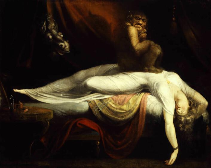 I tidligere tider var natten full av redsler. Man trodde blant annet at vonde drømmer ble forårsaket av at vesenet mare satte seg på brystet og red den sovende. Derav ordet mareritt. (Foto: (Marerittet av Henry Fuseli, 1789))