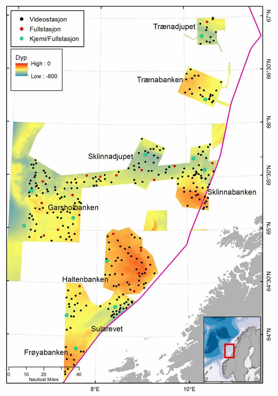 Kartet over området som det skal bli tatt prøver fra. Mulige kjemistasjoner er vist med lysblå farge.
