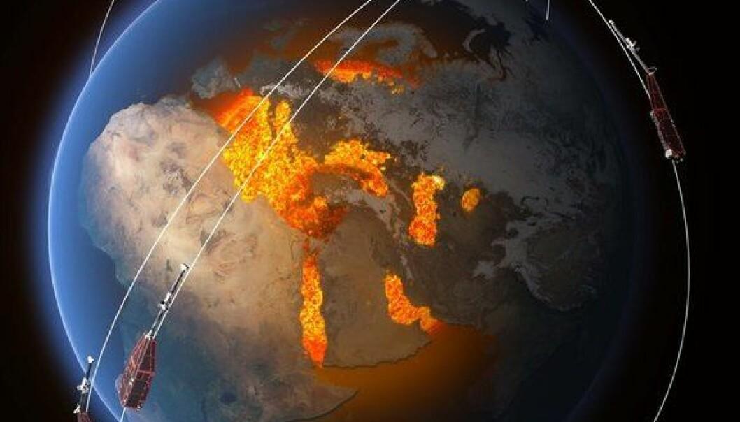 Banene til de tre satellittene i Swarm høyt over jordas indre som skaper magnetfeltet. (Illustrasjon: ESA/ATG Medialab)