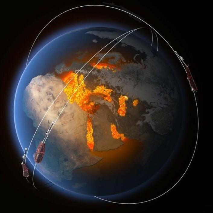 Banene til de tre satellittene i Swarm høyt over jordas indre som skaper magnetfeltet. (Foto: (Illustrasjon: ESA/ATG Medialab))