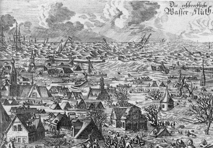 Superstormen i 1634 er den eldste dokumentert stormflodkatastrofen i danmarkshistorien. Store landområder forsvant, for eksempel den nordfrisiske byen Rungholdt. Andre steder oppsto det nye øyer. (Foto: Merops)