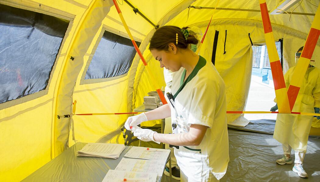 Under koronakrisen søker mange seg til sykepleierutdanningene og andre helseyrker. Her klargjør sykepleier Sina Kvidal koronaprøver inne i et telt ved legevakten i Bergen.