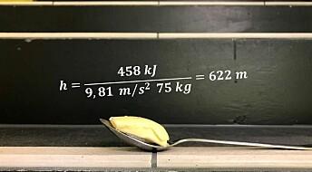 Hvor mange trapper må du gå opp for å nulle ut en spiseskje med smør?