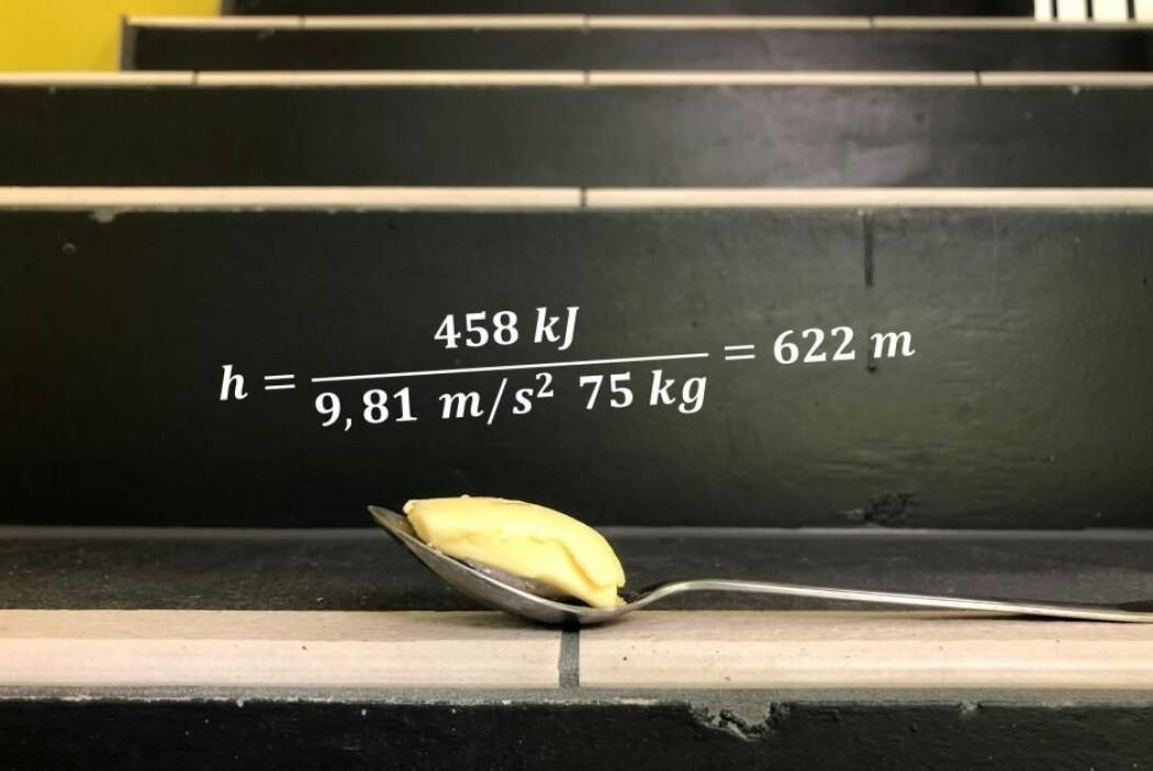 Et regnestykke som involverer vekta di og gravitasjonskraften, men ikke så mye mer, viser at du må klatre 622 høydemeter for å bruke opp en spiseskje, som rommer 15 gram smør, hvis du veier 75 kilo.